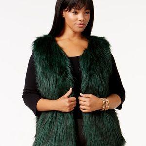 Jessica simpson emerald green faux fur vest